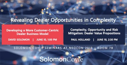 Post image showing key information about two NeoCon 2019 seminars on opportunities in complexity